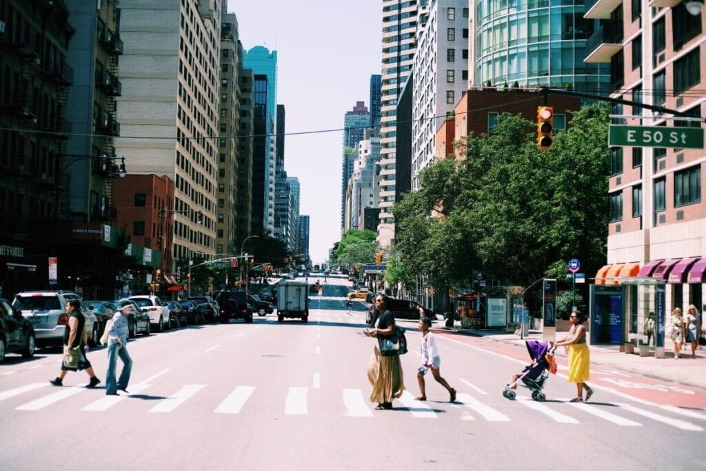 people in crosswalk